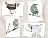 birds postcard set, bird silhouette art postcard, set of 4, brown, gray, teal, whimsical animal art, minimal woodland decor, reclaimed wood