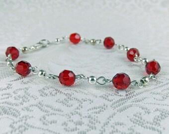 Ruby Red Bracelet - Swarovski Crystal Bracelet - Red Bracelet - Sterling Silver Bracelet - Red and Silver Bracelet