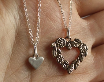 I HOLD you in my HEART forever - classic. Mom, daughter or Big, small sisters rings or pendants. Handmade to order. Sterling silver, brass.