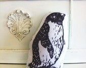 Plush Penguin Pillow. Hand Woodblock Printed. Choose ANY Color. Made to Order.