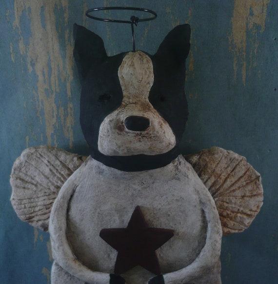 Boston Terrier Angel, handmade from papier mache, OOAK,BOSTON ANGEL