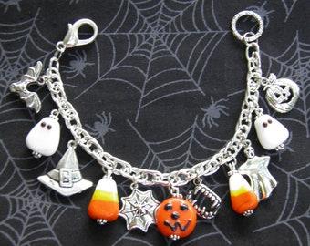 Pumpkin Bracelet with Ghosts, Pumpkins, Candy Corn, and Artisan Lampwork Glass Beads, Silver Charm Bracelet, Halloween Jewelry OOAK #2