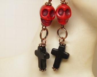 Day of the Dead Earrings Turquoise Black Cross Red Sugar Skulls Jewelry Rockabilly Jewelry Goth Day of the Dead Jewelry, Halloween Earrings