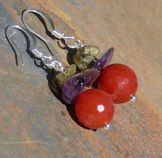 Natural Stone Earrings, Orange Carnelian Earrings, Purple Amethyst Earrings, Green Garnet Earrings, Multi Colored Earrings, Handmade Earring