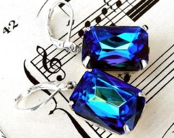 Brilliant Bermuda Blue Octagonal Rhinestone Earrings