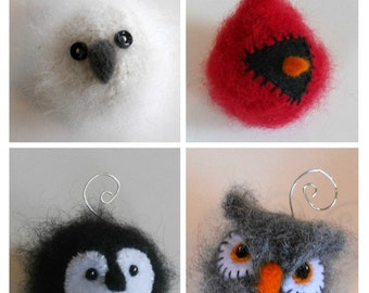 PATTERN-BOOKLET. A Knit & Felt Wool Holiday Bird Ornaments Pattern