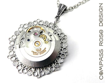 Steampunk Jewelry -  Antique Pocket Watch Movement Pendant Self Wind Watch Movement - Silver Lace, Steampunk Jewelry by Compass Rose Design