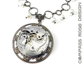 Steampunk Bridal Necklace - Ornate Special Occasion Bridal Clockwork Wedding Pendant - Swarovski Crystal Pearls