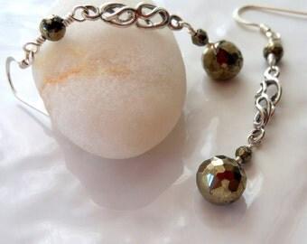 Pyrite Sterling Silver Linear Earrings