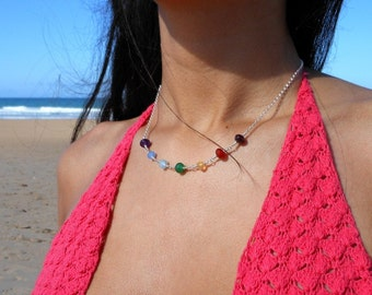 Chakra Multi Gemstones Wire Wrapped Chain Necklace Sterling Silver
