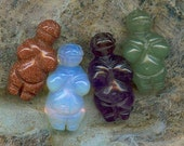 FOUR Little Venus of Villendorf Goddess Gemstone Beads - Amethyst, Moonstone, Aventurine and Goldstone