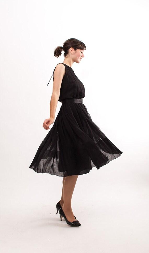 Vintage 1960s Dress - 60s Cocktail Dress - Sheer Black Chiffon