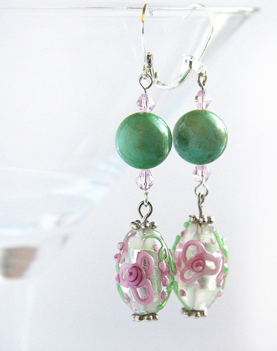 Romantic Long Dangle Earrings, Pink and Green Lampwork Bead with Green Turquoise. Sterling Silver. Beautiful Feminine Gift for Her