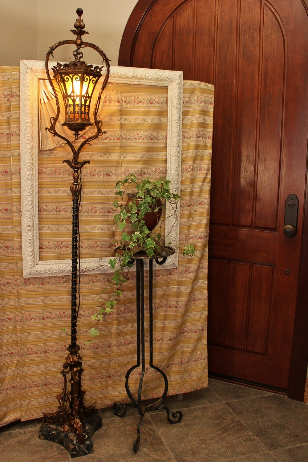 Amazing Antique Gothic Spanish Revival Floor Lamp