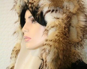 Buttercream Dreams LUXE Feather Fur Hoodie Hat