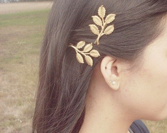 Hair Accessories Gold Leaf Bobby Pins Branch Clips Barrettes Slides Bridal Bridesmaid Vintage Style Unique Womens Gift For Her Spring Easter