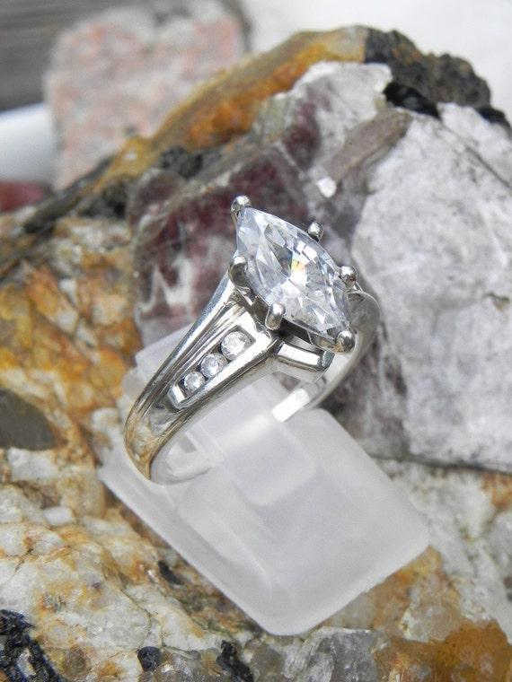 Genuine Diamond Sterling Engagement Ring