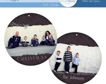5 x 5  Circle Holiday Magic Luxe Card - Photographer Template
