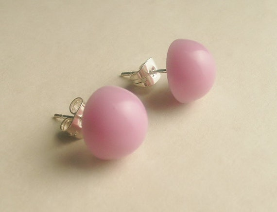 Button Earrings, Purple-Pink, Dome Shaped, Stud, Post