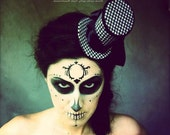 Tweed Black and White Houndstooth Mini Top Hat , Day of the dead fascinator, headpiece  - READY TO SHIP