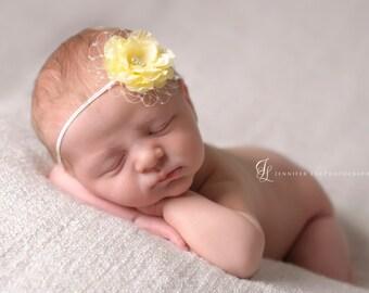 yellow newborn headband, yellow baby headband, Small Yellow Flower
