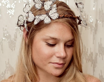 White Butterfly Crown - Wedding, bride, fantasy, woodland