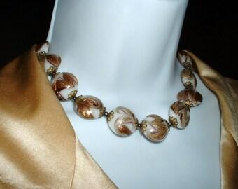 Vintage Italian Murano Necklace Gold Foil Gold Fleck Glass White Bead Necklace Filigree Cap Beads 1940 Original