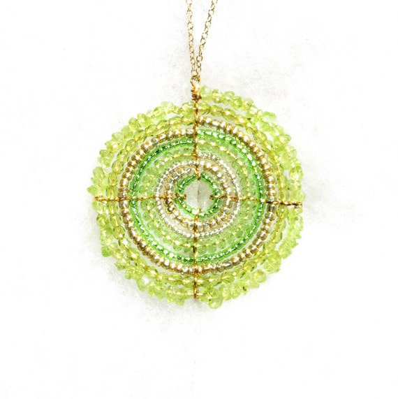 Charm Pendant Necklace, Green Maasai (African) Beaded (Large)