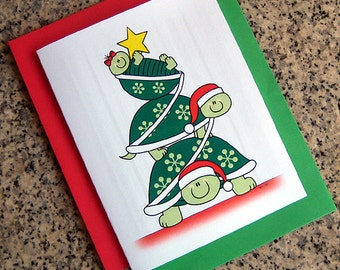 Turtle holiday card | Etsy