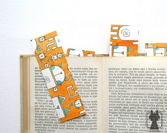 Hand painted paper bookmark - Robocats in a cyberspace - gift for feline lovers
