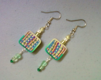 Green and yellow polymer clay earrings (0690)