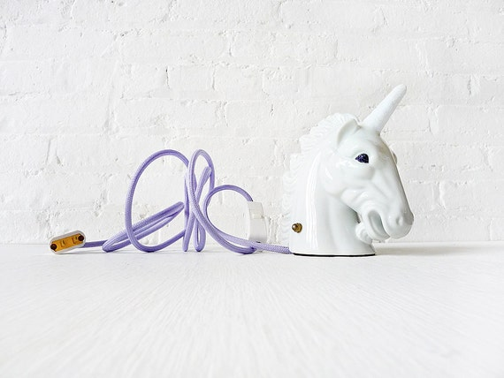 Vintage Lamp - Odysseus the Unicorn Head Night Light with Glitter Horn Eyes & Lavender Color Cord OOAK