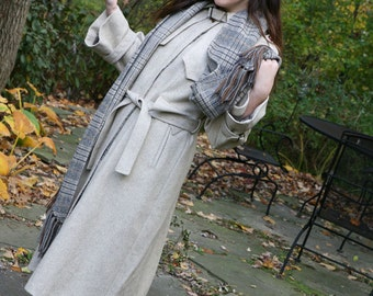 Vintage 70s Coat: Camel Tan Wool Trench Spy Coat / Matching Scarf / Removable Lining