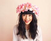 floral crown headband hair wreath - pink, romantic statement headpiece, large flower crown, oversized.