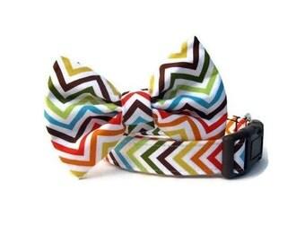Autumn Chevron Stripes Bow Tie Dog Collar