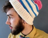 Bright Pom Pom Hat in Pink and Turquoise