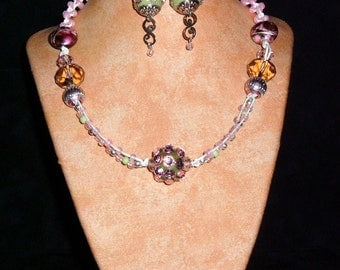 Hemp Necklace K3 Pink diamonds