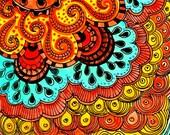 Fine Art PRINT Sun-orange yellow blue ink and acrylic reproduction
