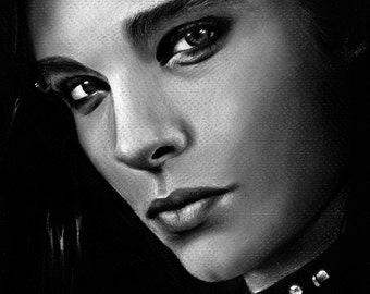 Bill Kaulitz Tokio Hotel  - 8x10 Stretched Canvas Print - Ready to Hang - celebrity portrait, charcoal drawing, realistic, black and white