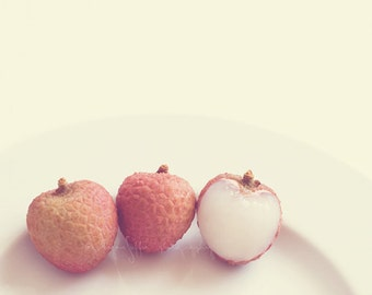 fruit print, still life photography, food photograph, lychee photo, three lychees kitchen art, melon peach pink, baby nursery decor, art