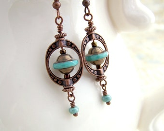 Flying Saucer Earrings - Turquoise and copper UFO Space Ships in Saturn Rings - Steampunk Earrings
