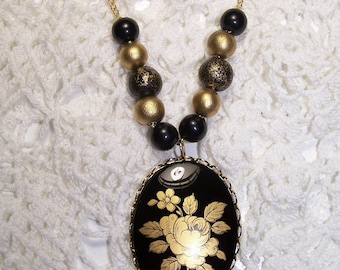 Black & Gold Rose Cameo Beaded Necklace Victorian Flower Sparkle Steam Punk Goth Mothers Day Gift
