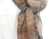 Brown hand painted silk scarf charcoal grey striped design 8x54 long scarf Canada made design - SilkDesignByJane