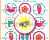 """Summer Fun Bottle Cap 1"""" Circles Digital Collage Image Sheet  4""""x6"""" Jpeg - NO. 180"""