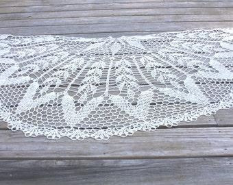 Crochet Shawl, natural off white color, unique design