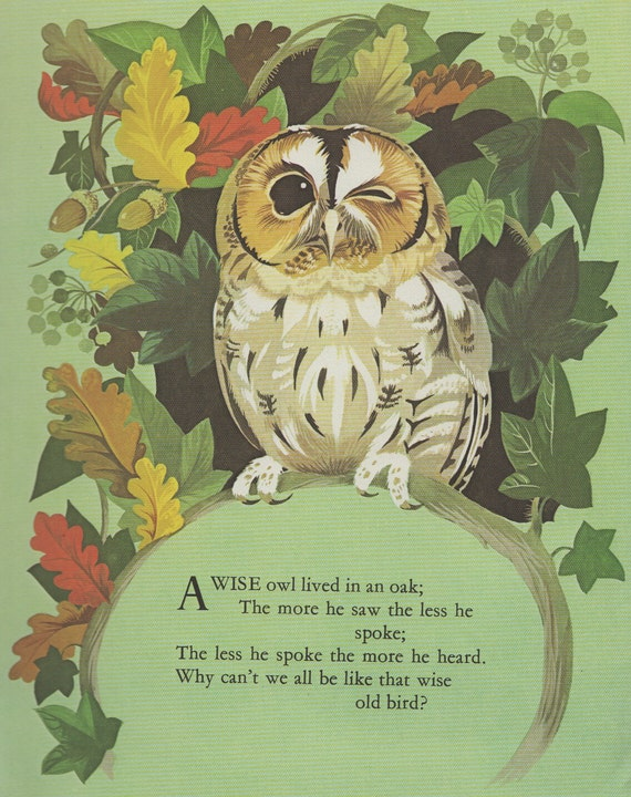 Owl Nursery Rhyme Print Oak Tree Autumn Leaves Nursery Decor