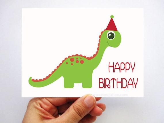 Dino Birthday Card Cute Green Dinosaur Birthday By Mariapalito