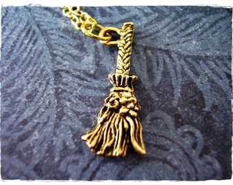 Gold Broom Necklace - Antique Gold Pewter Broom Charm on a Delicate Gold Plated Cable Chain or Charm Only
