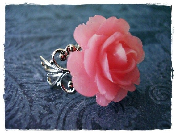 Pink Rose Ring with a Silver Tone Filigree Band
