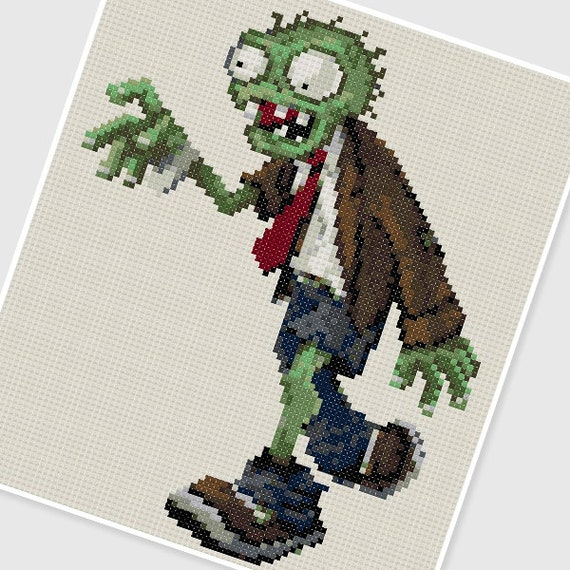 PDF Cross Stitch pattern - 0272.Zombie (Plants vs. Zombies) - INSTANT DOWNLOAD